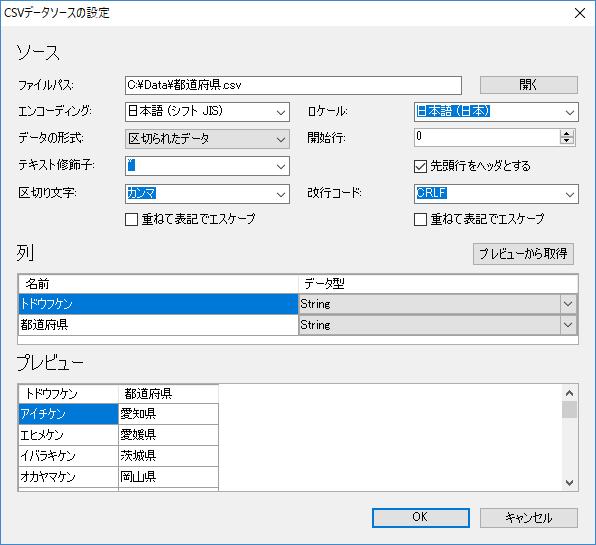 CSVデータソース