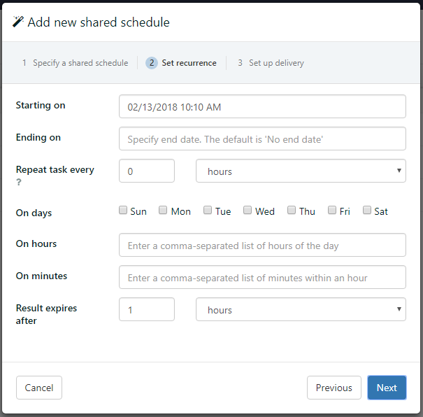 Recurrence options for scheduled report distribution