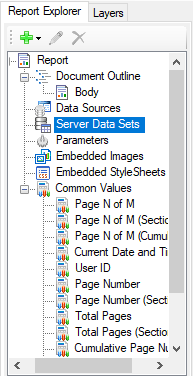 See data sets in end-user report designer