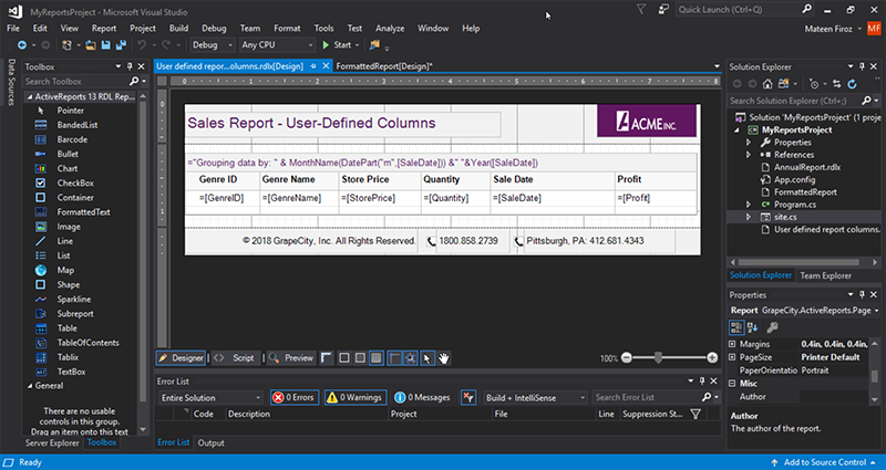 Extended Visual Studio theme in VSDesigner