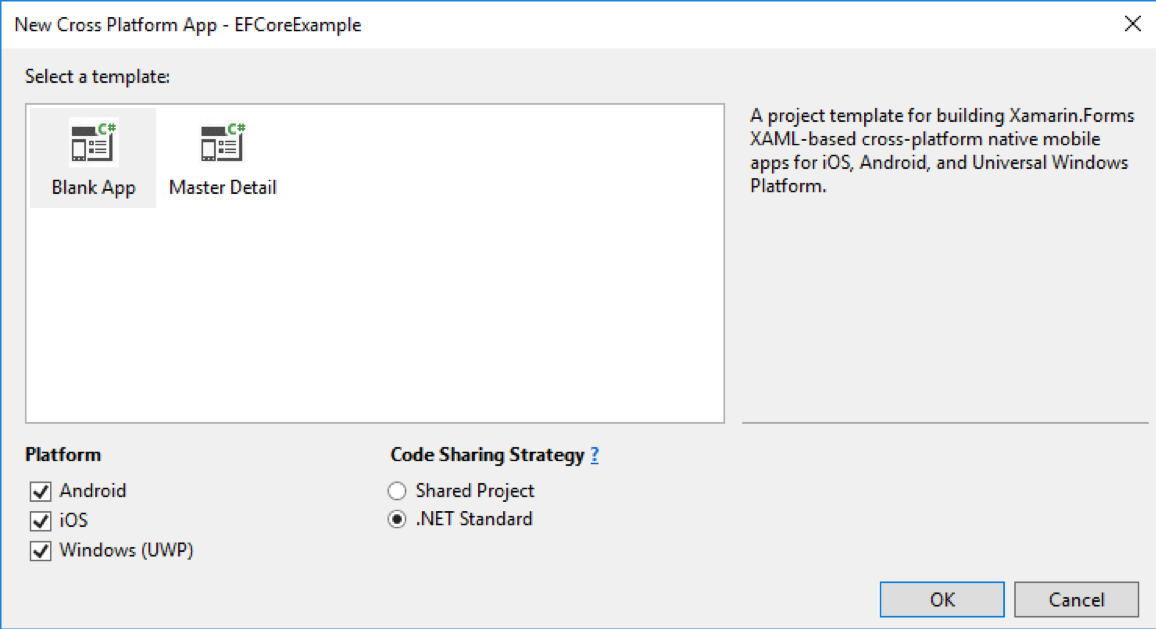 Built-in Xamarin Cross-Platform Template