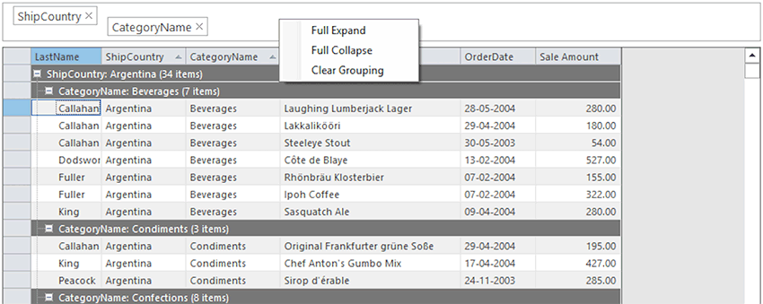 Grouping panels in WinForms data grid
