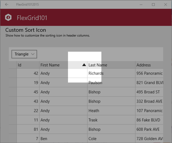 Triangle sort icon in FlexGrid