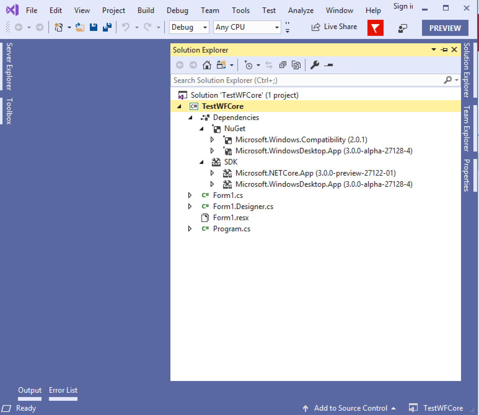 Project in Visual Studio