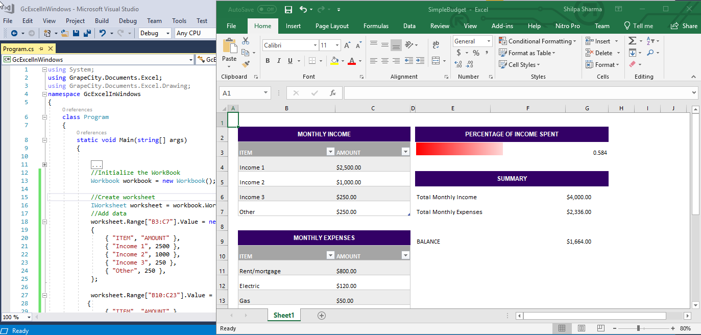 Documents for Excel on Windows