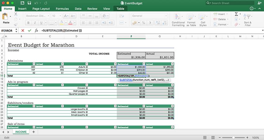 Formulas in Excel API