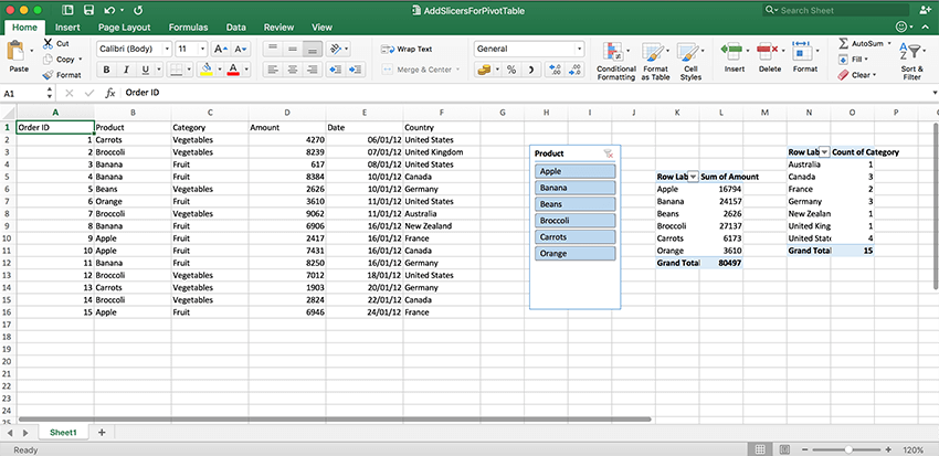 Add slicers to your spreadsheets