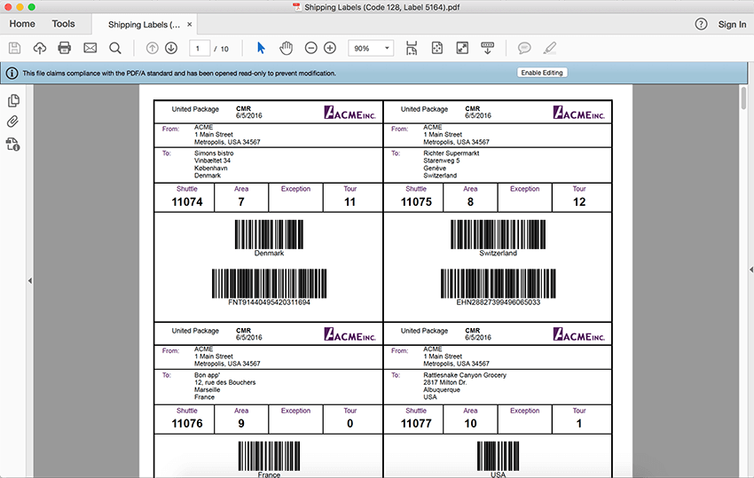 Support for 50+ barcodes