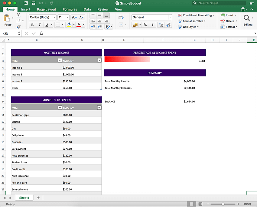 Create an Excel Spreadsheet