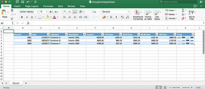 GrapeCity Documents for Excel, Java - Add sparklines