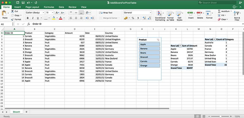 GrapeCity Documents for Excel Java - Filter data with slicers