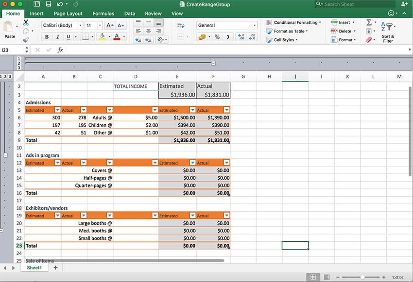GrapeCity Documents for Excel, Java - Improve analysis by grouping your data