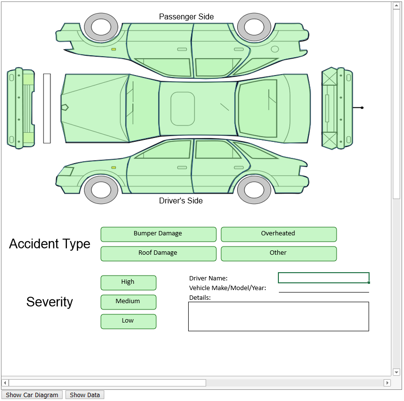 JavaScript car insurance app with clickable sections