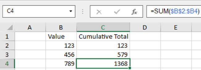 Mixed references calculating a cumulative total
