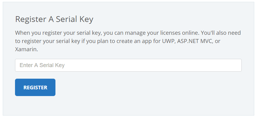 Register your serial key in the My Account section