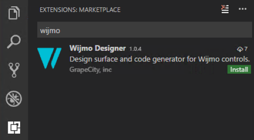 Wijmo Designer Extension for Visual Studio Code