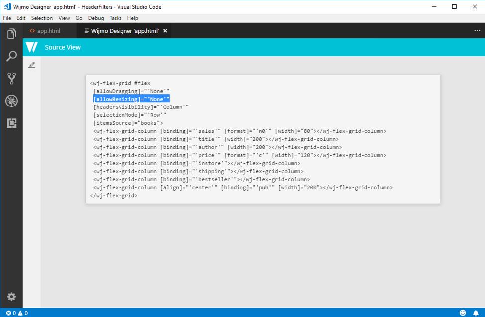 Wijmo Designer Extension for Visual Studio Code