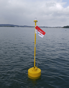 Water temperature sensor buoy on Matsushima Bay