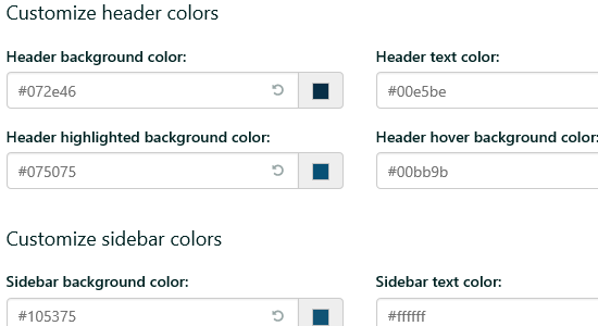 Customize Header Colors