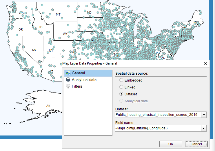 Display geospatial data on the map