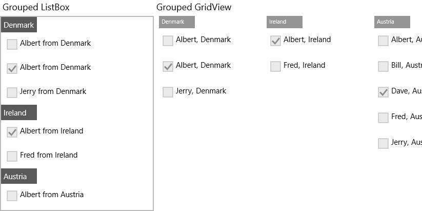 UWP CollectionView Grouping