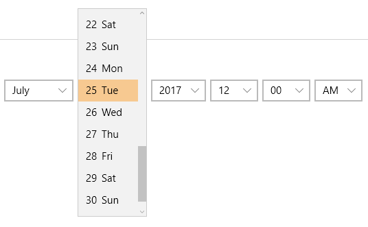 UWP DateTime Selector