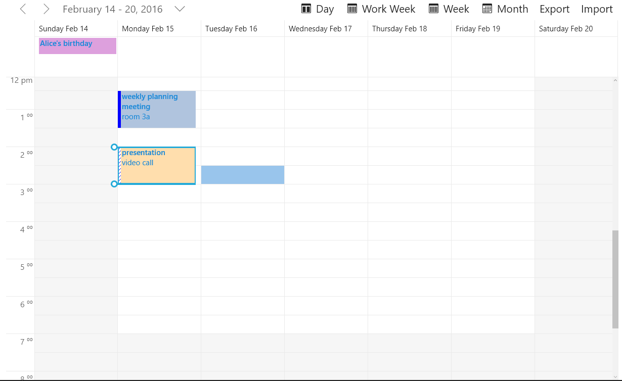 UWP Scheduler Week View
