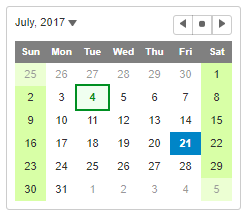JavaScript Calendar Customization