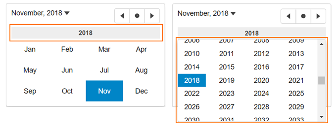 Year picker in JavaScript calendar