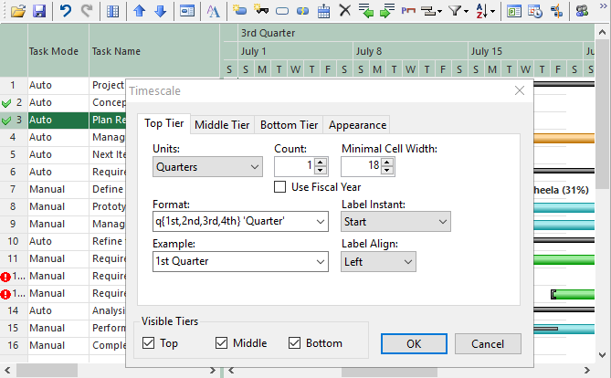 WinForms GanttView TimeScale
