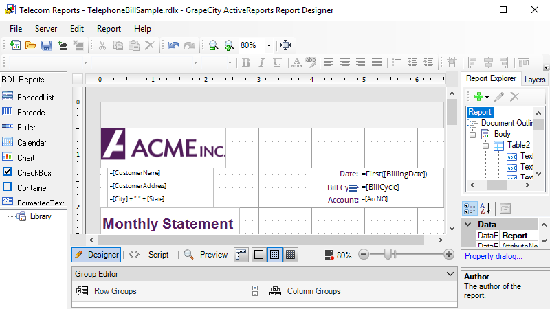 Design new reports code-free with ProDesigner