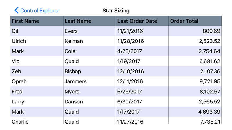 Star Sizing .NET Data Grid