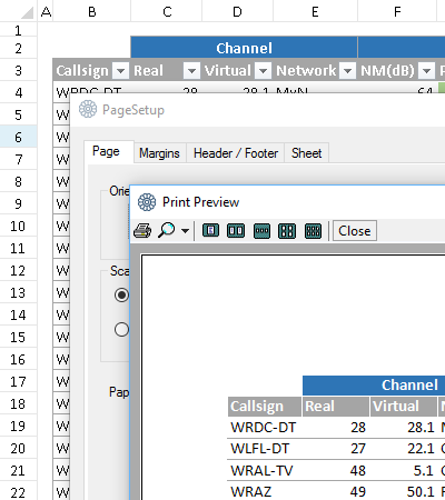.NET Excel Spreadsheet Component Print and Print Preview