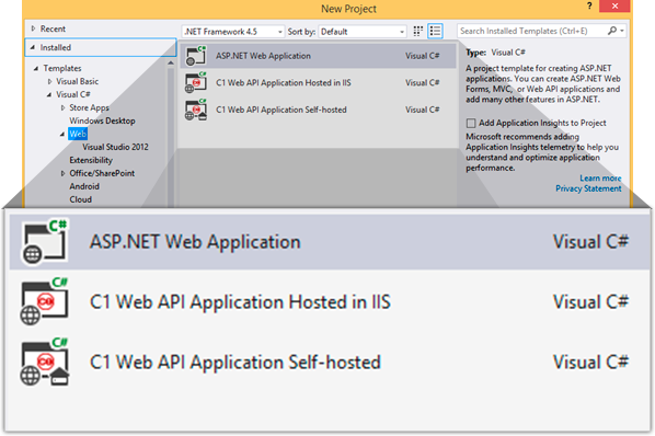 Web API | Visual Studio Components | ComponentOne Studio Enterprise