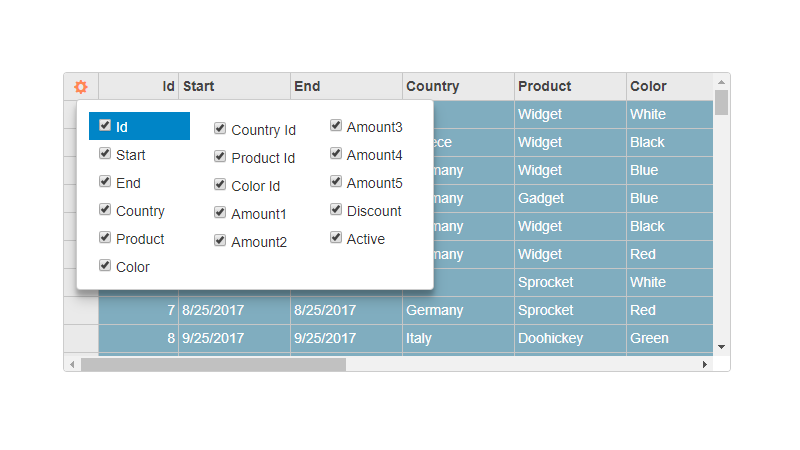 Popup column picker in a JavaScript data grid