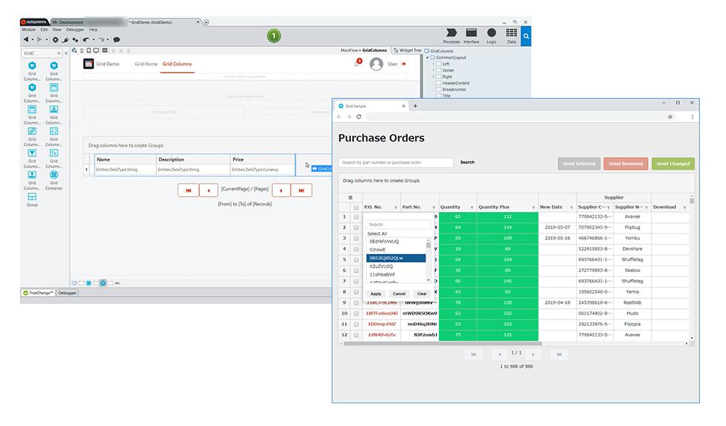 ローコード開発プラットフォーム「OutSystems」で利用できるコンポーネント「Data Grid」