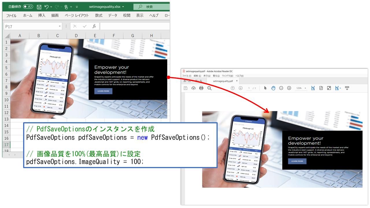 PDFエクスポート時の画像品質