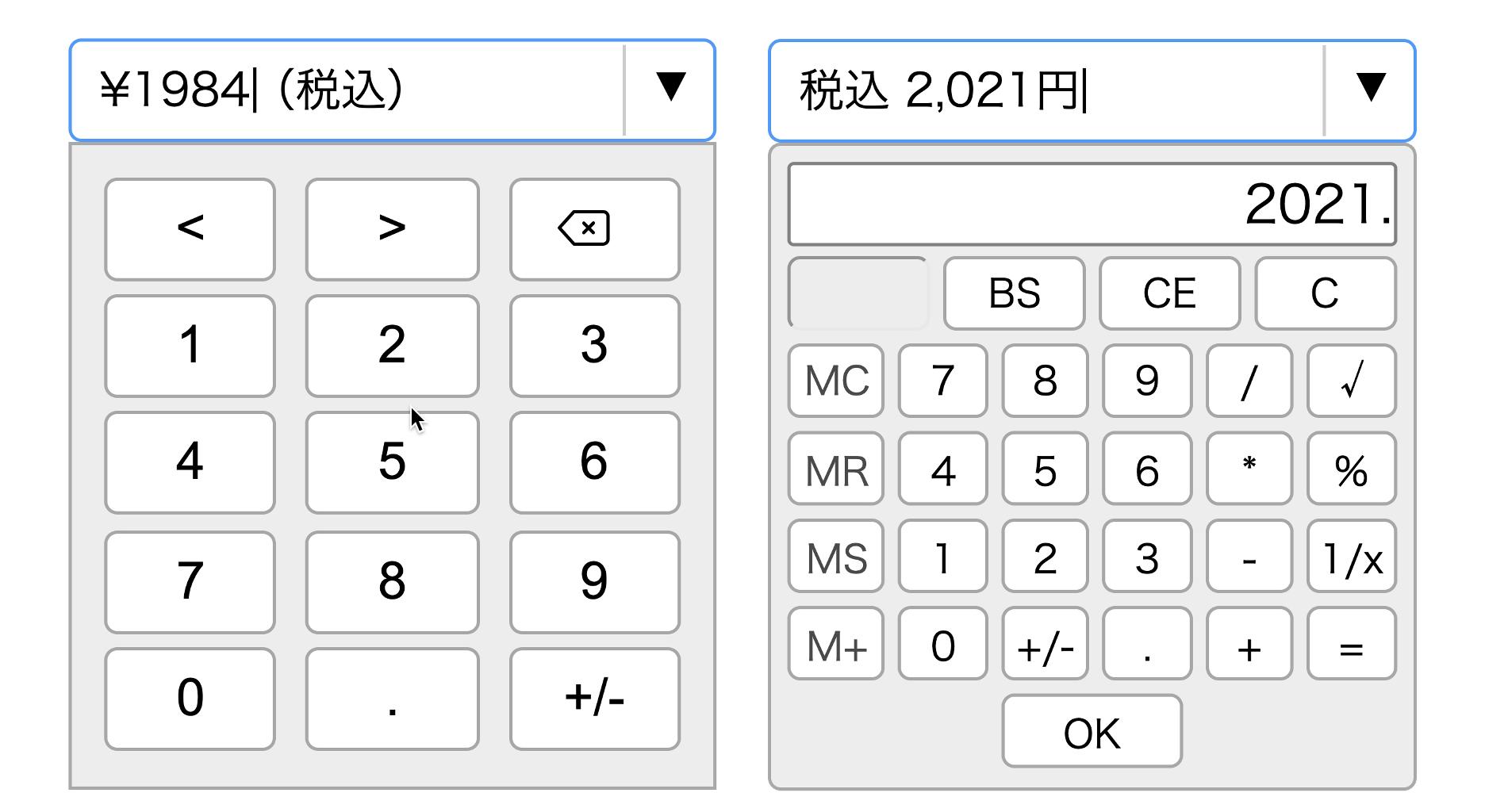 数値パッドと電卓