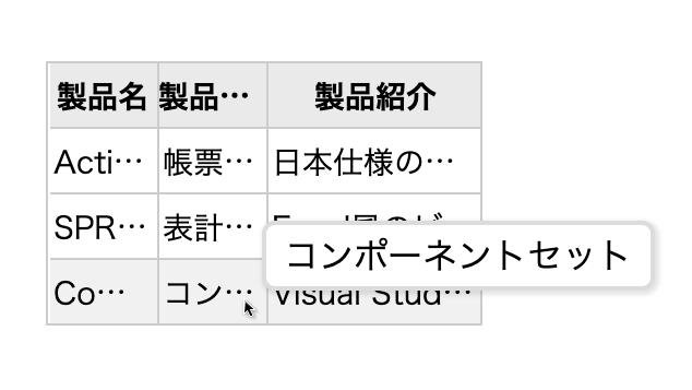 ツールチップ表示
