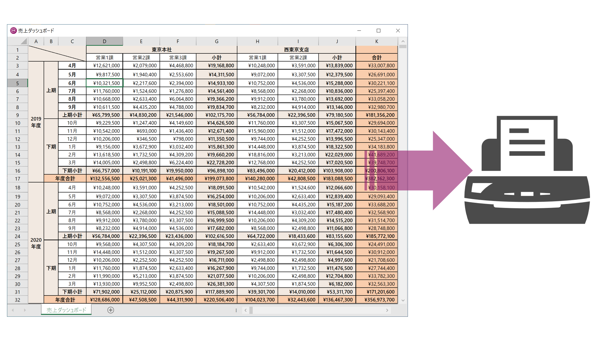 Excel互換の印刷機能