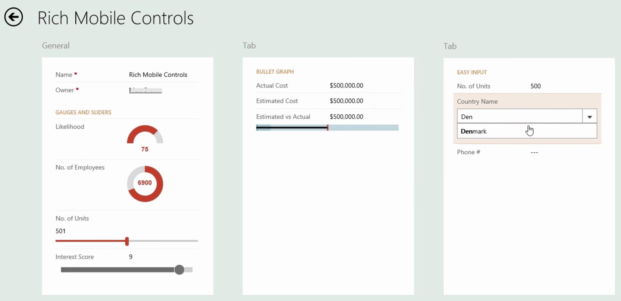 Microsoft Dynamics CRM 2016 Mobile Controls