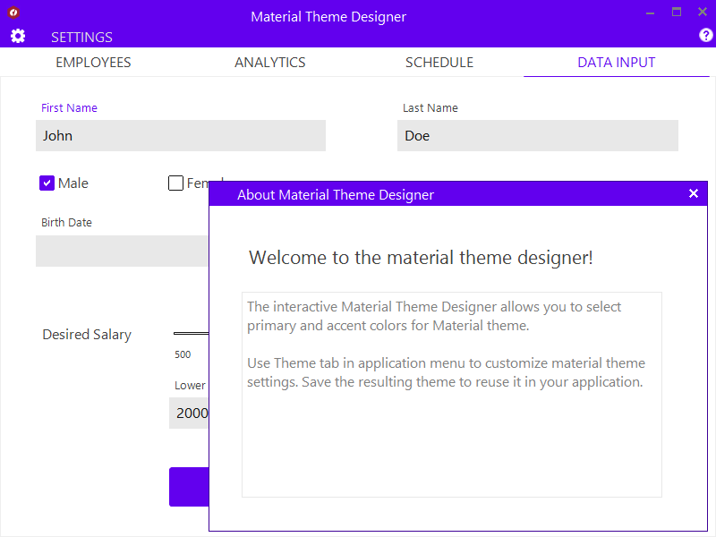 WinForms Material Theme Designer