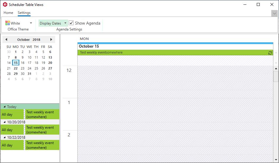 XAML Scheduler AgendaView