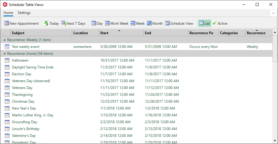 XAML Scheduler TableView