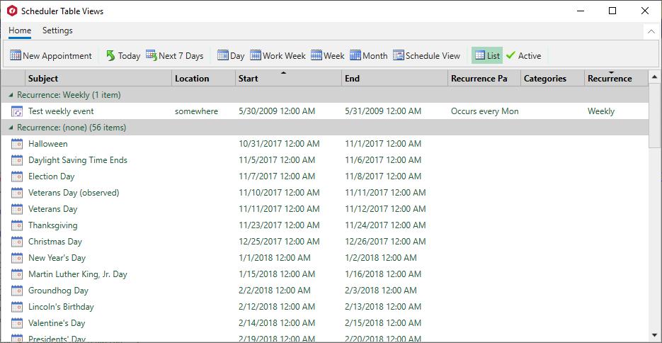 XAML Scheduler TableView